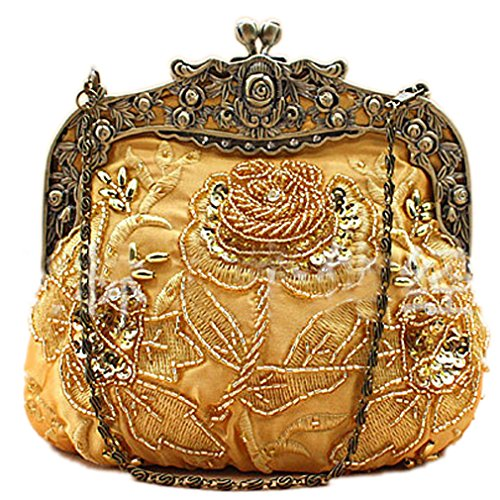 Belsen Women's Vintage Beaded Sequin Flower Evening Handbags (Gold)
