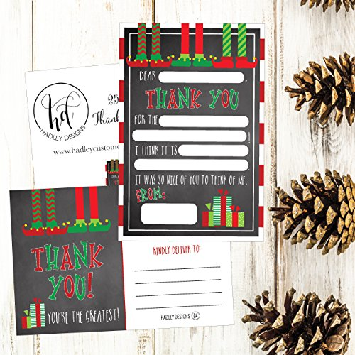 25 Christmas Holiday Kids Thank You Cards, Elf Fill In the Blank Thank You Notes, Personalized Card For Birthday Party or Christmas Gifts, Stationery For Children Boys and Girls Photo #5