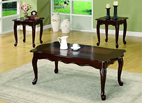 Amazon.com: Monarch Specialties 3-Piece Anne Table Set, Queen, Dark ...