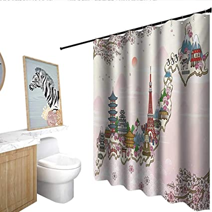 Homecoco Japanese Shower Curtain With Hooks Japan Travel Poster Sakura Tree Branches Blossoms Asian Journey