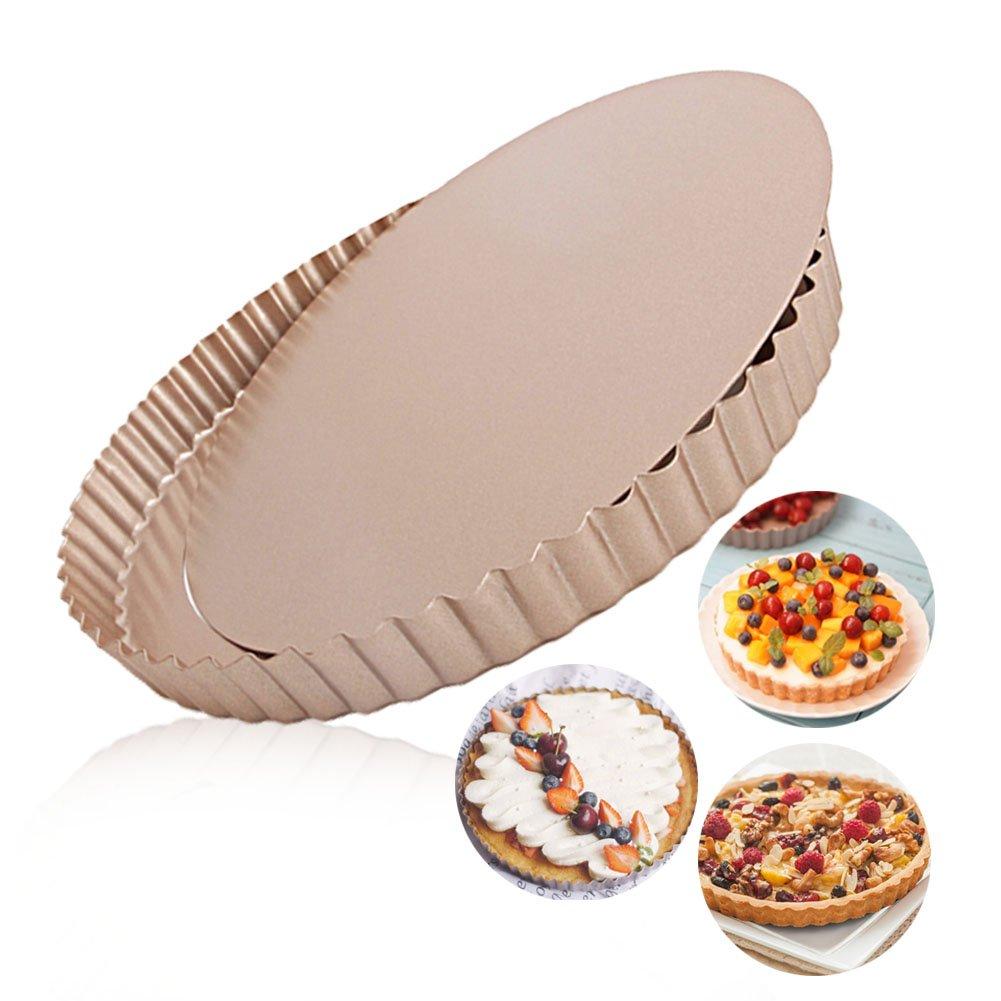 Tart Pan Round Nonstick 24cm Removable Loose Bottom Quiche Pie Pan Gold by LUFEIYA B0778TDWBB