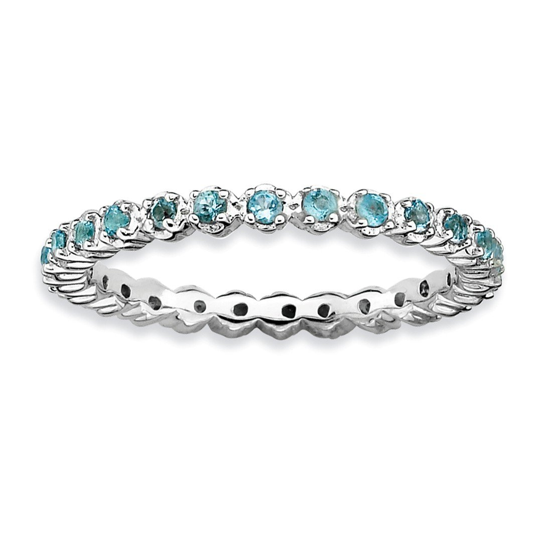 ICE CARATS 925 Sterling Silver Blue Topaz Band Ring Size 7.00 Stone Stackable Gemstone Birthstone December Fine Jewelry Gift Set For Women Heart