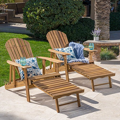 GDF Studio Halley Outdoor Reclining Wood Adirondack Chair with Footrest