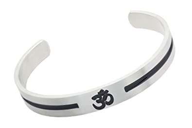 3da4fd7fe4fa64 Image Unavailable. Image not available for. Color: Divine Jewelry Hindu  Stainless Steel Cuff Bracelet