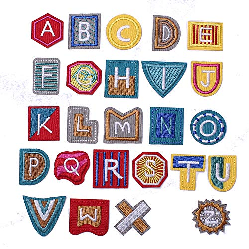 J.CARP Alphabet A to Z Patches, Iron on Sew on Letters for Clothe, 26pcs Geometry