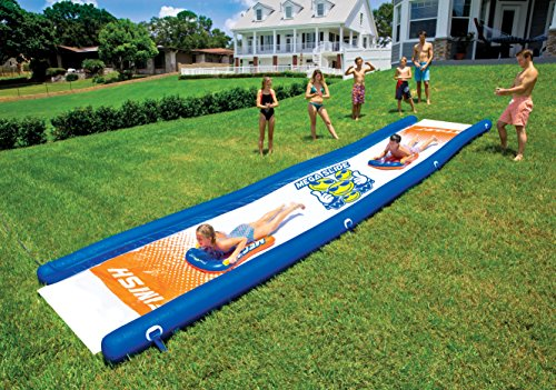 - WOW World of Watersports 18-2200 Mega Slide, Giant Backyard Waterslide, High Side Walls, Built in Sprinkler, 25 Feet x 6 Feet, Includes Hand Pump and 2 Inflatable Sleds