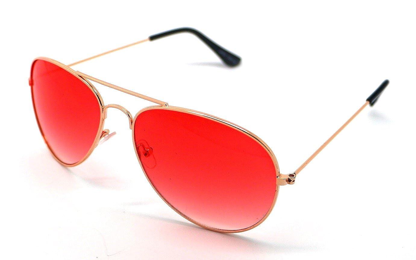 Gafas de Sol Hombre Mujer Espejo Sunglasses Aviador Rojo