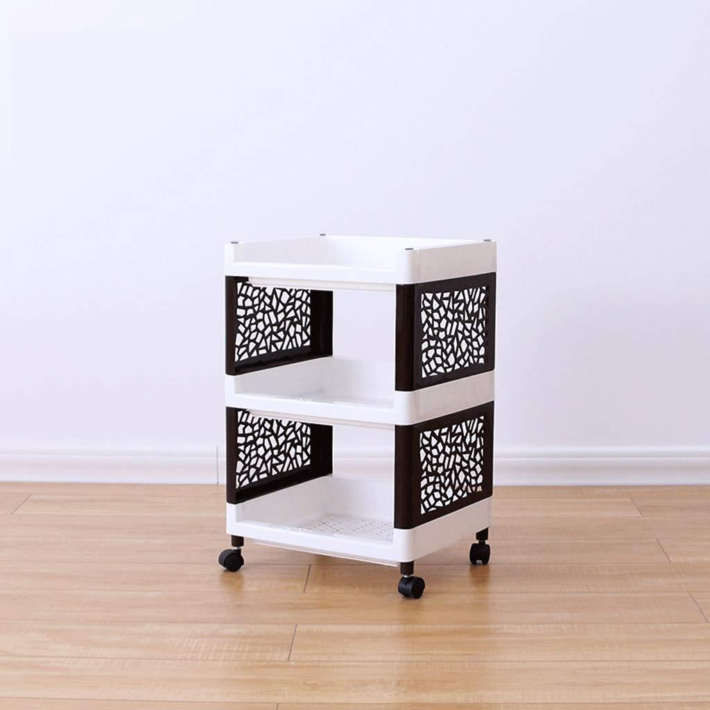 schwarz+Weiß 363077.5CM CCF Badezimmer Multi-Layer-Regal Badezimmer Regal Landing Pulley Lagerregal Kunststoff Küche Lagerregal CCFSF (Farbe   schwarz+Weiß, größe   36  30  77.5CM)