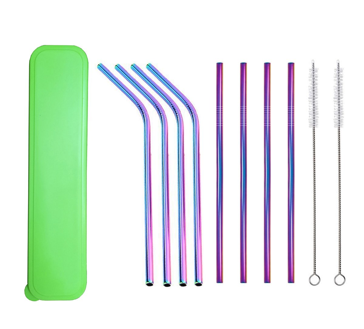 Food-Grade Stainless Steel Straws for Tumblers Cups Mugs, Set of 8 Multi-Colored Reusable Metal Straws for 30 20 ounce Yeti Ozark Trail Rambler Rtic, Come with 2 Clean Brush