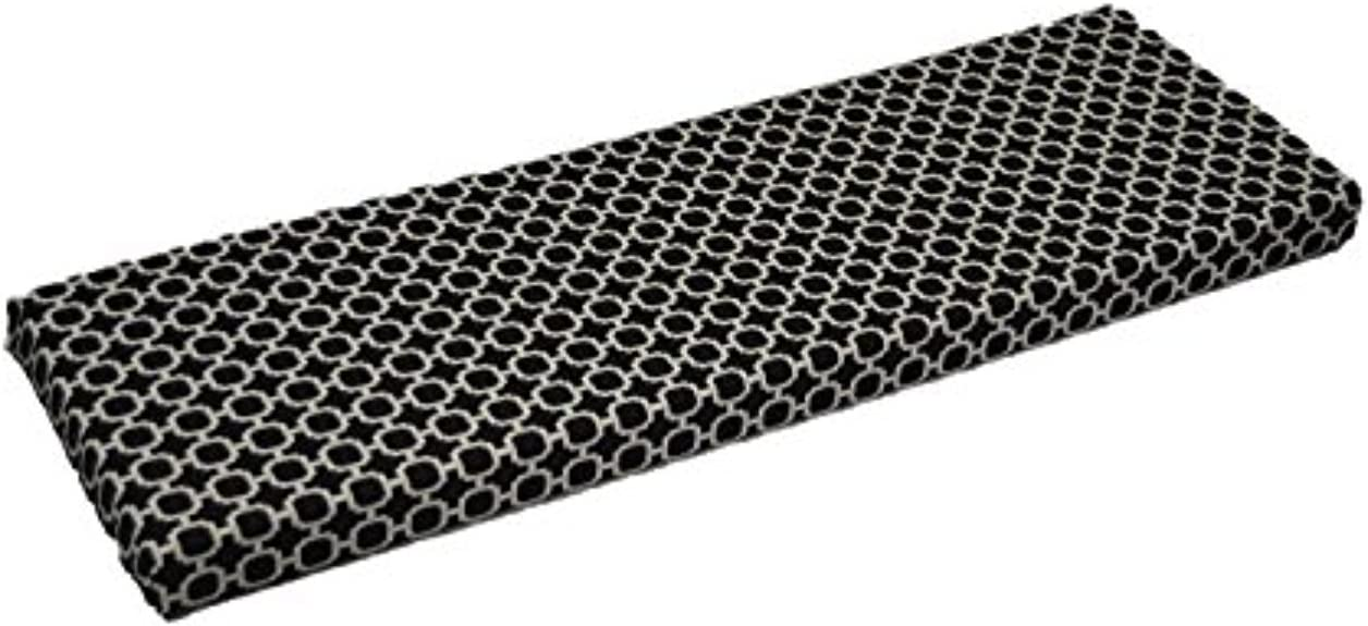 Resort Spa Home Decor Black White Geometric Hockley Print 3 Thick Foam Swing Bench Glider Cushion with Ties – Indoor Outdoor – Choose Size