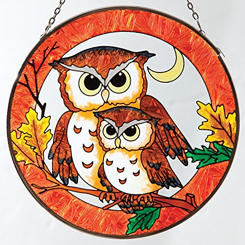 Bits and Pieces - Hanging Home and Garden Décor - Artistic Owl Suncatcher - Hand Painted Owl Family Sun Catcher Makes a Stunning Window - Owl Rimmed Glasses