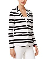 Tommy Hilfiger Womens Cotton Striped Two-Button Blazer