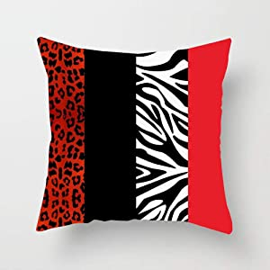Huayuanhurug Decorative Red Leopard and Zebra Animal Print Throw Pillow Case Cushion Cover for Sofa Bedroom Car 18 x 18 inches
