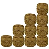 Pack of 10 Pcs Beige with Metallic Golden Cotton Crochet Thread For Cross Stitch Knitting Tatting Doilies Skeins Lacey Craft Yarn