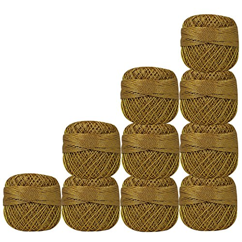 Pack of 10 Pcs Beige with Metallic Golden Cotton Crochet Thread For Cross Stitch Knitting Tatting Doilies Skeins Lacey Craft Yarn by CraftyArt