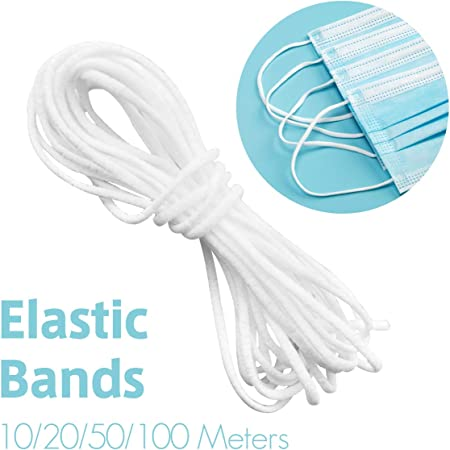 Ukon 3mm White Elastic Rope Round Earloop Lanyard 10 20 100 Meters