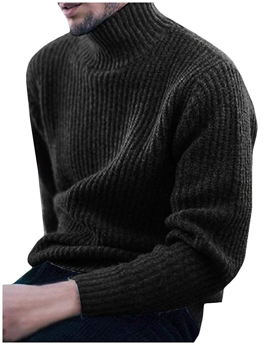 Vska Mens Solid Mock Neck Long Sleeve Knitted Lounge Plus-Size Sweater Top