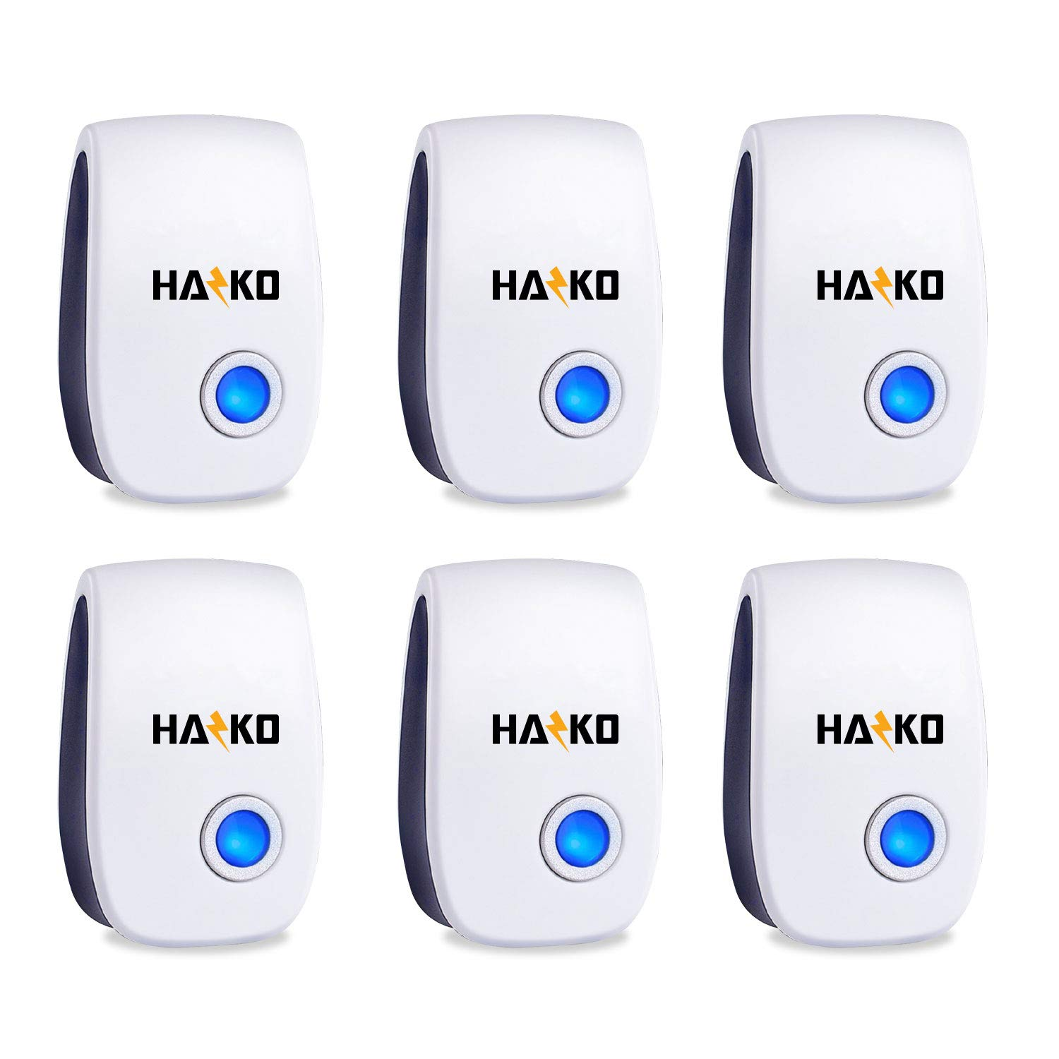 HAZKO Ultrasonic Pest Repellent 6 Packs - Electronic and Ultrasound Pest Repellent - Insects, Mosquitoes, Mice, Spiders, Ants, Rats, Roaches, Bugs Control - Friendly and Effective Pest Repeller by HAZKO