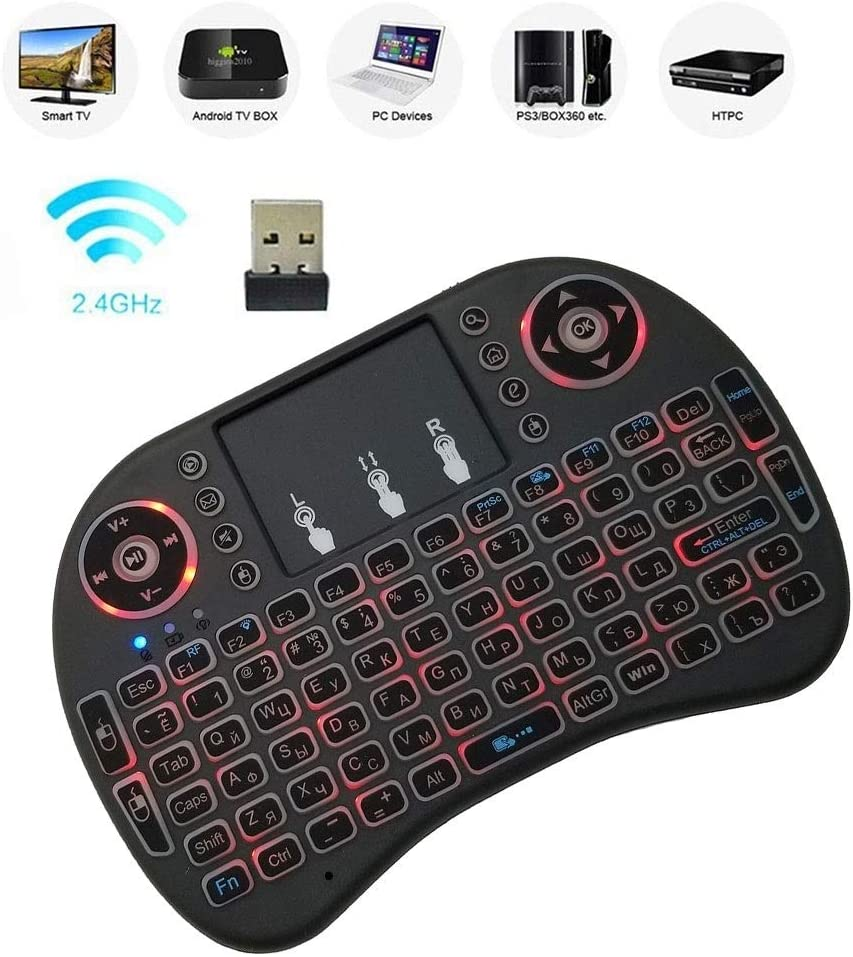 Russian i8 Air Mouse Wireless Backlight Keyboard with Touchpad for Android TV Box /& Smart TV /& PC Tablet /& Xbox360 /& PS3 /& HTPC//IPTV HUFAN Support Language
