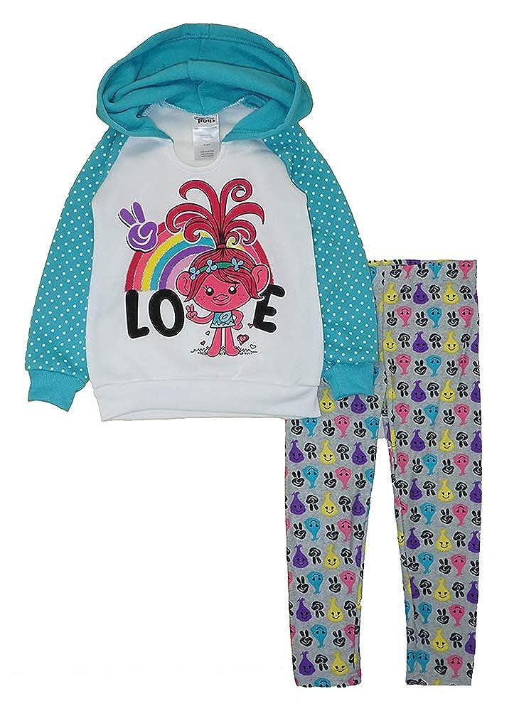 Childrens Apparel Dream Works Little Girls Trolls Fleece Pull-Over Hoodie Two-Piece Pant Set