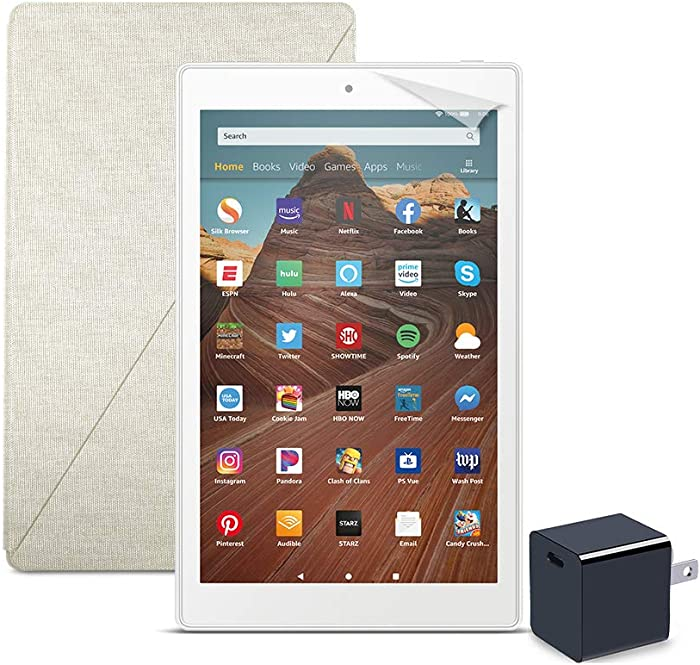 Fire HD 10 Tablet (64 GB, White, With Special Offers) + Amazon Standing Case (Sandstone White) + Nupro Screen Protector (2-pack) + 15W USB-C Charger