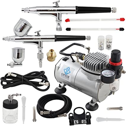OPHIR 0.2mm 0.3mm 0.5mm Dual Action Airbrush Kit with Air Compressor for Hobby