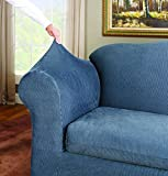Surefit Stretch Stripe Wing Chair Slipcover Navy