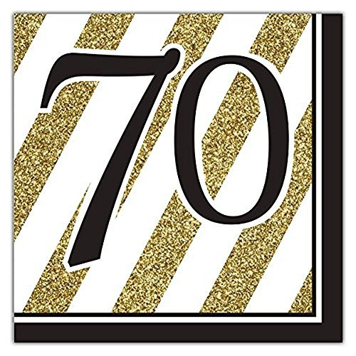 Black & Gold 70th Lunch Napkins - 32 Count (Value-Pack) -