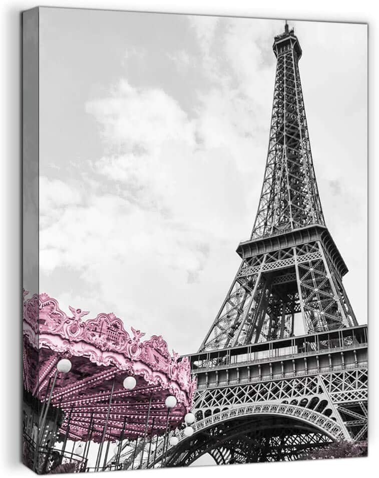 Paris Eiffel Tower Wall Decor for Girls Bedroom Black and White Bathroom Pictures Wall Decor Artwork for Walls Modern Home Art Pink Paris Themed Room Decor Canvas Framed Art Wall Decoration Size 12x16