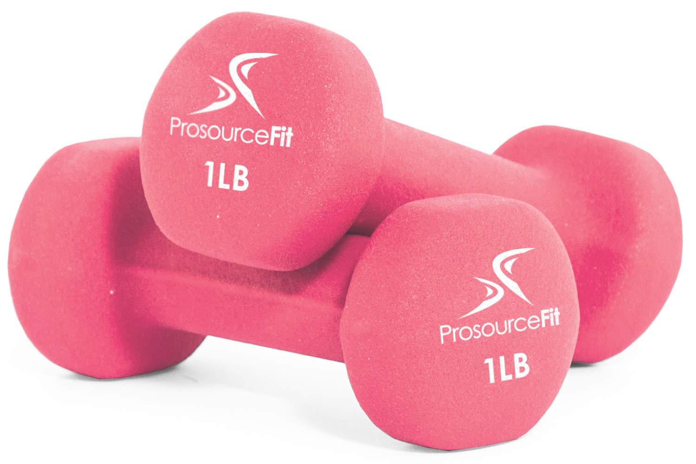 ProsourceFit Set of 2 Neoprene Dumbbell Coated for Non-Slip Grip, Pink-1 lb
