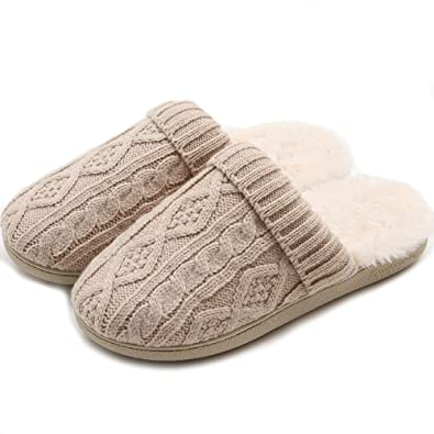 13971f349b5 Ladies  Memory Foam Slippers Cozy Cable Knit Fur Lined Comfy Indoor Outdoor House  Shoes  Amazon.co.uk  Shoes   Bags