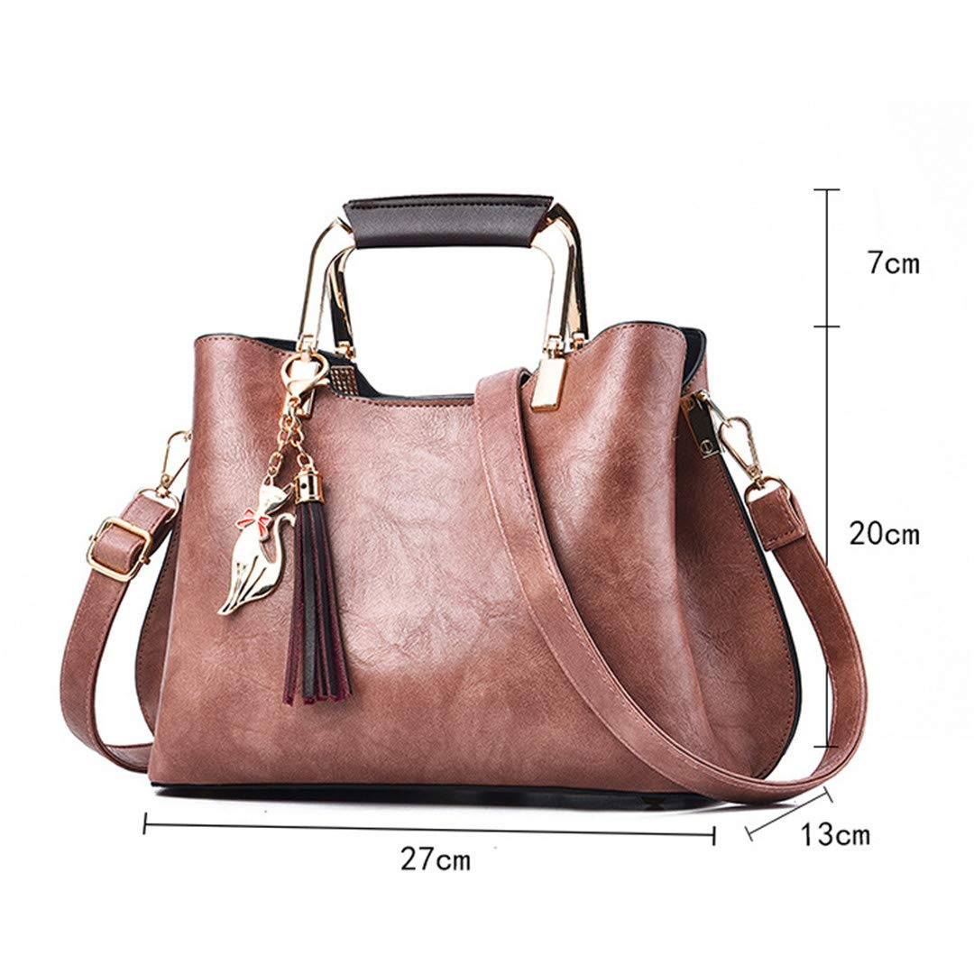 Women Leather Casual Tote Vintage Tassel Female Shoulder Bag Sequined Women H bags Messenger Bag