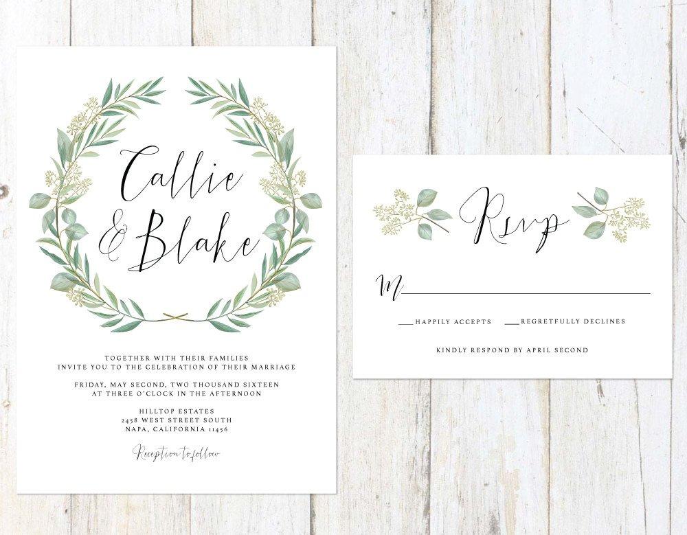 Eucalyptus Wedding Invitation, Green Wreath Wedding Invitation, Watercolor Leaves Wedding Invitation