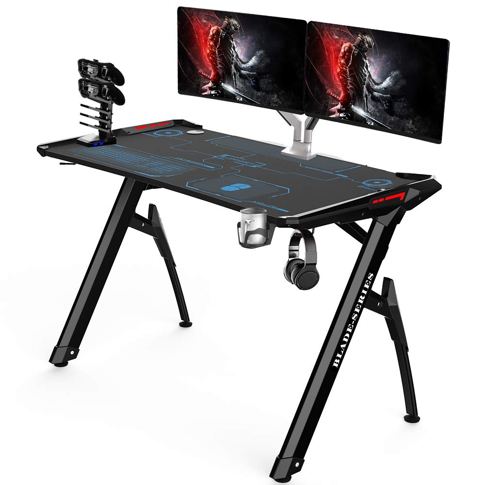 Kinsal Blade Series Gaming Style Computer Desk Office Desk Student Table PC Desk with RGB LED Lights Cup Holder Gamer Workstation Headphone Hook and King Sized Mouse Pad RGB Lights