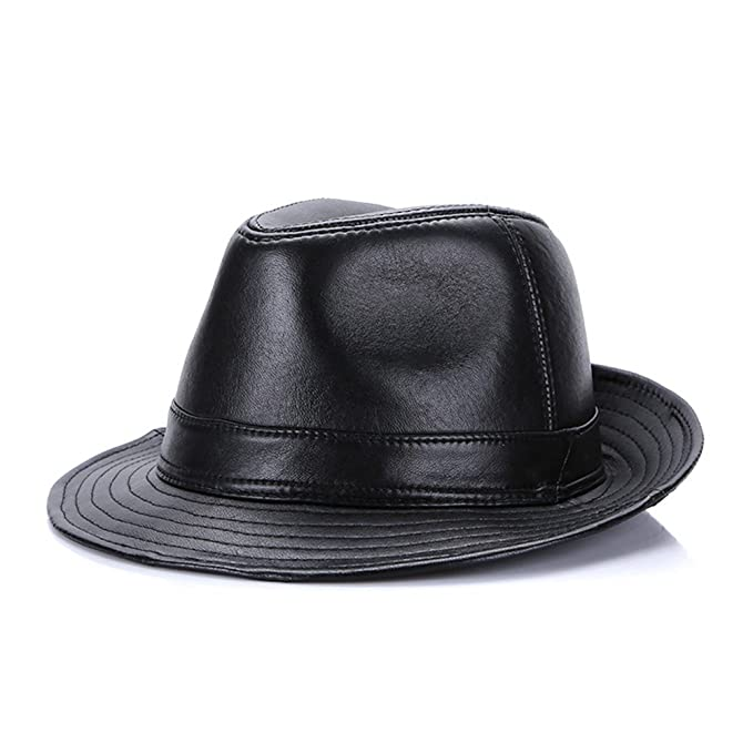 see me happy Mens Genuine Leather Hat Sheepskin Fedora Hat Safari Hat (4XL) efca32db9c7f