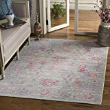 Safavieh Windsor Collection WDS309E Grey and Fuchsia Vintage Distressed Bohemian Area Rug (3′ x 5′) For Sale