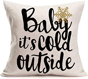 Asamour Christmas Theme Home Decor Pillowcase Baby It's Cold Outside Quotes Saying Cotton Linen Throw Pillow Cushion Cover Snowflake Pillow Case 18''x18'' (Baby It's Cold Outside-B)