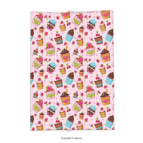 Custom printed Throw Blanket with Pink Decorations for Kitchen Cupcakes Muffins Strawberries and Cherries Print Light Pink and Brown Super soft and Cozy Fleece (Dc Cupcakes Halloween Recipes)