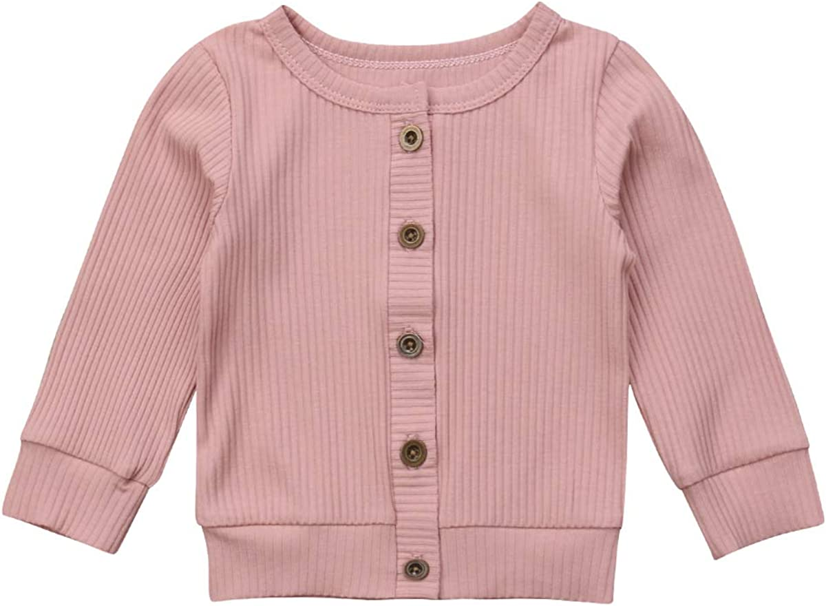 FOCUSNORM Baby Girl Long Sleeve Crew Neck Button-Down Solid Fine Knit Cardigan Sweaters Clothes