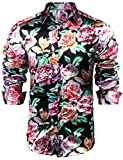 JINIDU Mens Floral Button Down Shirt Shiny Satin Silk Hip Hop Dance Prom Shirts