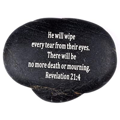 """Holy Land Market Engraved Inspirational Scripture Biblical Black Stones Collection - Stone XI : Revelation 21:4 :"""" He Will Wipe Every Tear from Their Eyes. There Will be no More Death or Mourning. : Garden & Outdoor"""