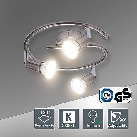 Bojim Lámpara de techo LED Plafón con Focos Giratorios 3X Bombillas GU10 Bajo consumo 6W 220V