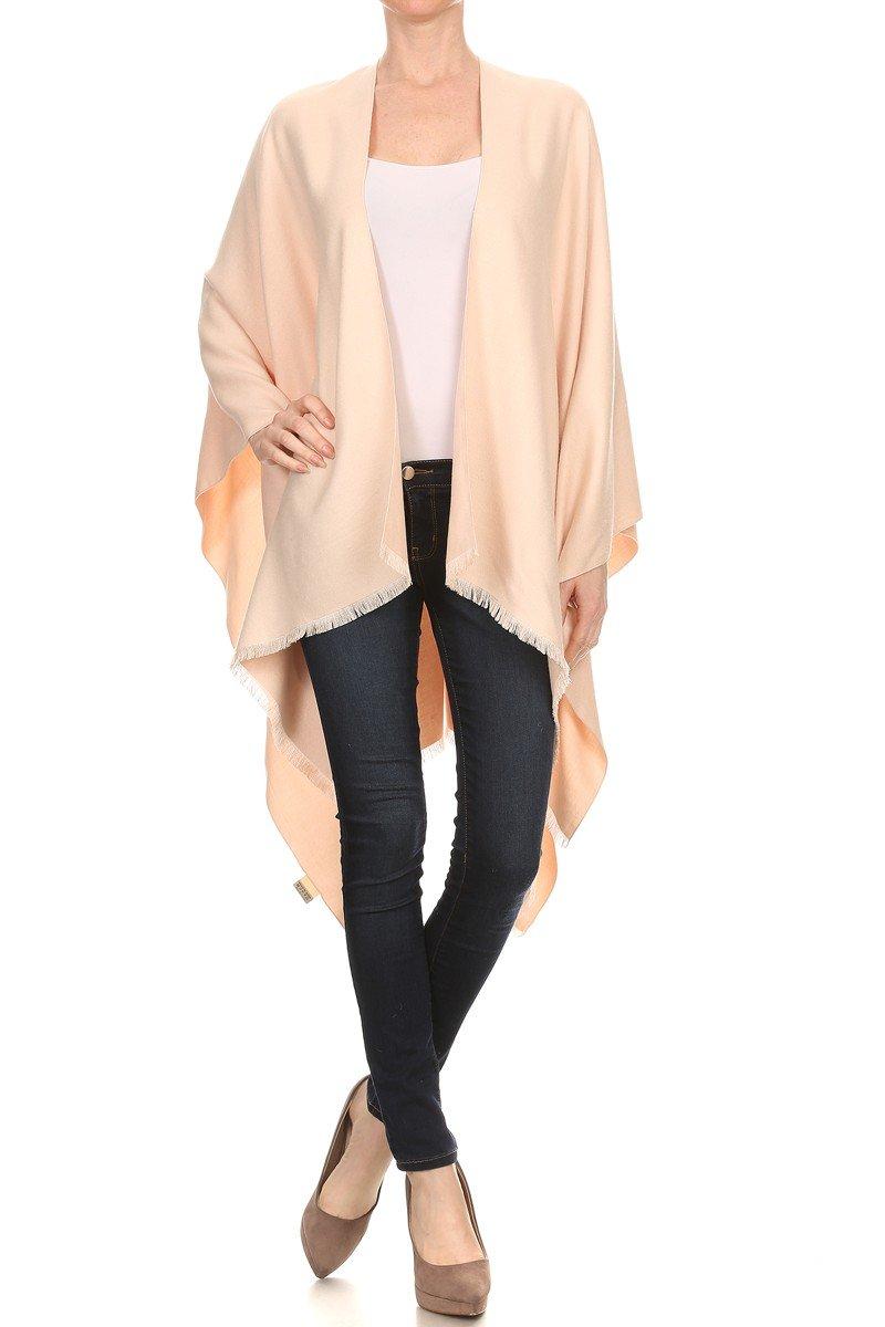 LA12ST Women Winter Reversible Oversized Fleece Blanket Knit Poncho Cashmere Cape Scarf Coat Cardigan