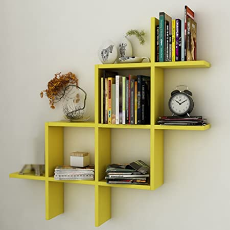 JWZ Multi Function Bookshelf Wall Hanging Bedroom Goods Shelf Color Yellow