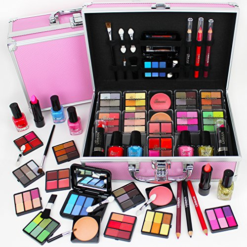 82 Piece Cosmetic Make Up Vanity Case Box Travel Carry Storage Gift Set Love Urban Beauty by Unknown