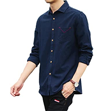 f90f08bf01b Men's Linen Cotton Casual Shirt Long Sleeve Slim Fit Shirts: Amazon ...