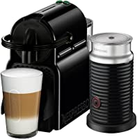 NESPRESSO® Cafetera Inissia con Espumador de leche, Color Negra. (Incluye obsequio de 14 cápsulas de café)