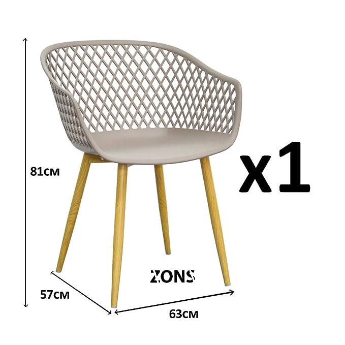 Zons - Silla Tipo sillón para Comedor de Metal con Asiento ...