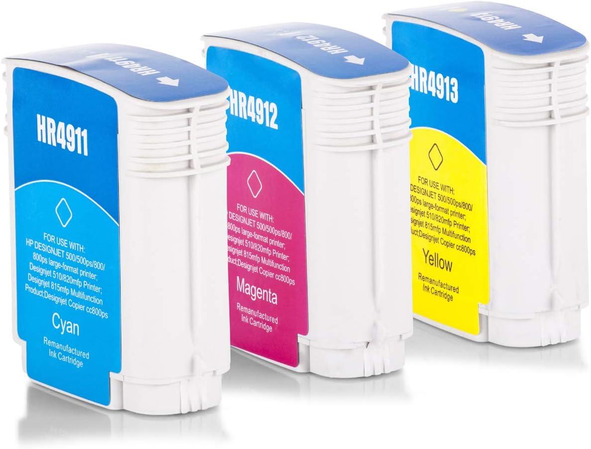 Inka Doo® de tinta compatible con HP Designjet 510 PS 24 Inch equivalente a HP Nr 82 C4911 a – C4913 A – 3 x Premium Impresora de tinta compatible – Cian,