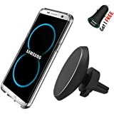 Magnetic Wireless Car Phone Charger, Neotrix Qi Standard Mobile Cell Phone Air Vent Magnet Car Mount Holder for Samsung Galaxy S8 S7 S6 Edge and iPhone 5 6 7 and Others Qi Enabled Android Phones